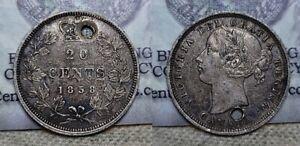 1858 Canada Twenty Cent Piece Victoria 20c Great Details Holed