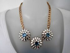 Blue and Clear Crystal Statement Necklace