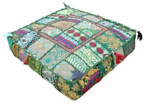 """Indian Handmade Cotton Ottoman Footstool Pouf Cover 18X18X5"""" Inches Patchwork"""