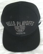 BROOKLYN NETS ADIDAS HAT BLACK SNAPBACK COTTON CAP NBA BASKETBALL HELLO PLAYOFFS