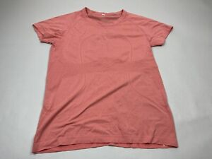 Lululemon Run Swiftly Tech Short Sleeve Shirt Coral Pink Striped Size 12
