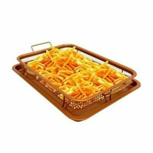 Non-Stick Copper Crisper Oven Baking Tray Chips Chef Crisping Basket Tool 2 Pcs