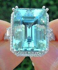White Gold Finish  25.0 Ct Bridal Emerald Cut Aquamarine Wedding Cocktail Ring