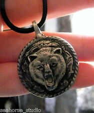 BEAR POWER AMULET Spirit Guide totem Pewter STRENGTH PENDANT & blk necklace cord
