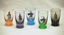 Old Vintage Napco Originals Giftcraft 5 Whiskey Shot Glasses Assorted Colors MCM