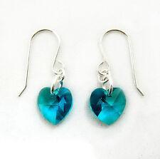 Argento Sterling Orecchini pendenti con cristalli Swarovski Element cuore zircone blu