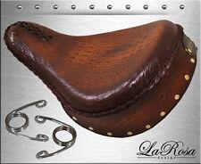 "16"" La Rosa Brown Gator Emboss Leather Skirt Harley Bobber Solo Seat + Springs"