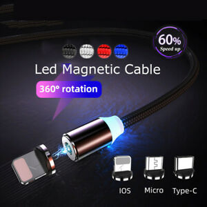 LED Magnetic Type C Cable Fast Micro USB C Cable For Samsung iPhone 1~3m