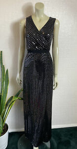 Phase Eight Black Silver Maxi Evening Dress Brand New With Tags Size 14 RRP £130