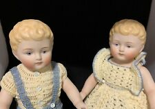 Boy Girl Twin Artist Antique Reproduction Molded Hair Bisque Porcelain Doll Pair