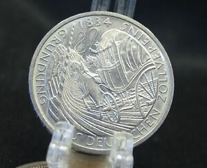 1984   German  5  Reich Marks Silver Coin  -  Coin is Just Like New.