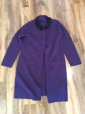 Boden Talla 14 Lana Abrigo Cardigan largo color púrpura
