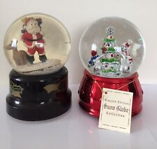 Two Of Vintage Santa Presents Traditional Musical Christmas Snow Globes