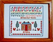 Vintage Framed Cross Stitch Embroidered Picture Bless Our House Alphabet