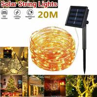10M 200 Led Solar Power Fairy Light String Lamp Party Xmas Deco Garden Outdoor💖