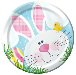 """Cottontail Fun Bunny Rabbit Animal Easter Holiday Party 7"""" Paper Dessert Plates"""