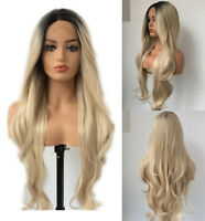 """24"""" Lace Front Wig Ombre Blonde Heat Resistant Hair Long Curly Wavy Fashion"""