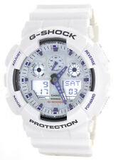 Casio Mens G-Shock White Dial White Rubber Strap Chronograph Watch GA100A-7A