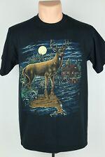 Vintage 1996 Cotton Grove Mens Medium Deer Cabin Graphic Black T Shirt USA Made