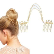 1PC Fashion Retro Golden Chain Leaf Hair Clip Hair Two Comb For Women Girls Kids