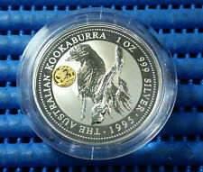 1995 Australia $1 Kookaburra 1oz 999 Silver Coin with Gold Panda Privy Mark