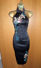 Amazing Karen Millen Oriental Chinese Corset Wiggle Dress UK 14 42 Pencil Black