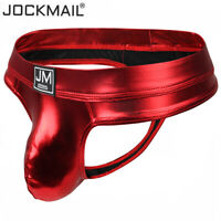 JOCKMAIL Men's Wet Look Thongs Bikini U Convex Faux Leather Underwear Jock Strap