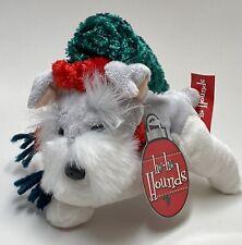 2002 Commonwealth ho-ho Hounds ~ Schnauzer Dog w Santa Hat Stuffed Animal Nwt 6�