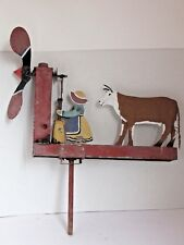 Vintage Folk Art Whirligig of a Woman and Cow All Metal Original Paint