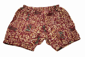 Floral Printed Yoga Shorts For Women - Pune Style Soft & Comfy, Burgundy Diagram
