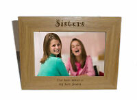 Sisters Wooden Photo Frame 8x6 - Personalise this frame - Free Engraving