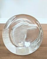 Vintage Etched Chrystal Eagle Paperweight Zajecar Yugoslavia Office Work Desk