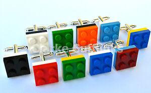 LEGO® Brick Silver Plated FOOTBALL TEAM CUFFLINKS MIXED COLOURS- 6 Mth Guarantee