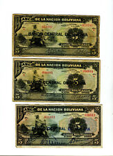 3 Banco Central de Bolivia 5 Bolivianos Banknotes P# 113 Different Signatures