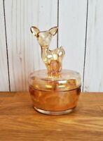 Vintage Glass Deer Fawn Trinket Powder Box Canister Jeanette Marigold Carnival
