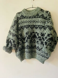 Vintage Wool Hand Knit Oversized Jumper Chunky Cropped Large