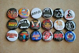 Classic Rock Band Buttons Pins 70s 80s Music 1 Inch Badge Lot resale pinback