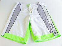 Billabong Supreme White Neon Green Boardshorts Size 30 Pocket Surf Skate Casual