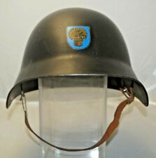 RARITY 1940s - 50s WW2 Steel Swiss Fireman Helmet Firefighting W/ Town Logo