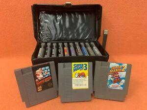 Nintendo NES Authentic Game Lot W/ Leather Case Super Mario Ninja Turtles & More
