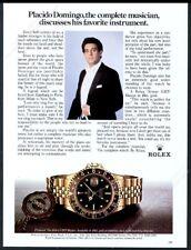 1982 Placido Domingo photo Rolex GMT Master watch vintage print ad