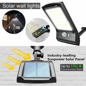 LED Solar Power Wall Outdoor Street PIR Motion Sensor Garden IP65 Light Lamp