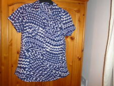 Dark blue and white pattern lightweight short sleeve shirt, DASH, size 10