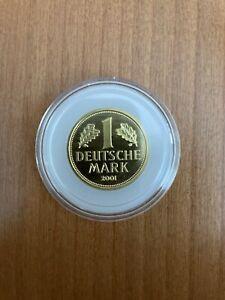 1 DM Gold Goldmark 2001 D Kapsel Stempelglanz 999,9 Fein Bundesbank Deutschland