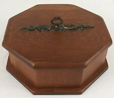 "Wood Keepsake Trinket Box Jewelry 8"" Storage Unisex Pine Metal Hardware 1970s"
