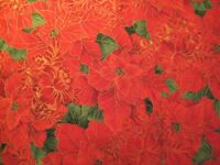 1/4 Yard Red Green Gold Metallic Christmas Poinsettia Fabric Quilt 100% Cotton