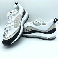 New Nike Air Max 98 White Metallic Silver AH6799-116 Women's Size 6.5-8.5 10 ,11