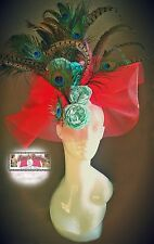 Kentucky Derby Lg Tulle Red Fascinator Head dress Costume Hat Turquoise Aqua