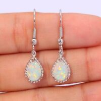 Vintage Women Silver Plated White Fire Opal Wedding Dangle Drop Hoop Earrings