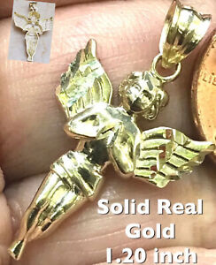 """GOLD Angel Pendant 10k Yellow charm Necklace solid Real Gift diamond cut 1.20"""""""